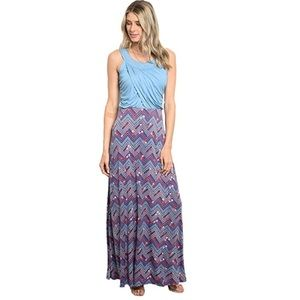 Made in USA Blue Jersey Floral Maxi Dress